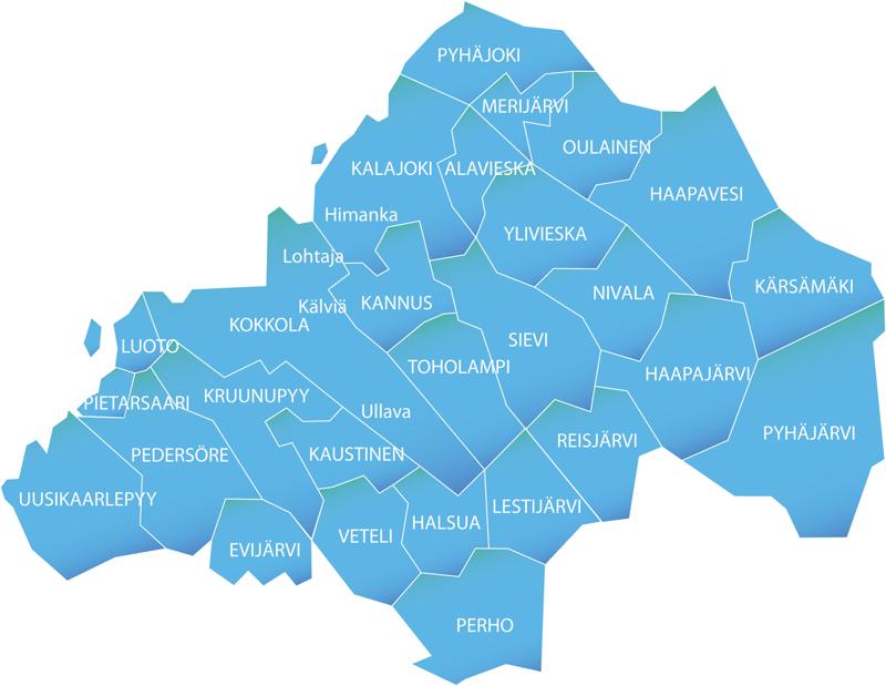 Keskipohjanmaan ja KPK konsernin paikallislehtien vaikutusalueella on kaikkiaan kolmisenkymmentä kuntaa.