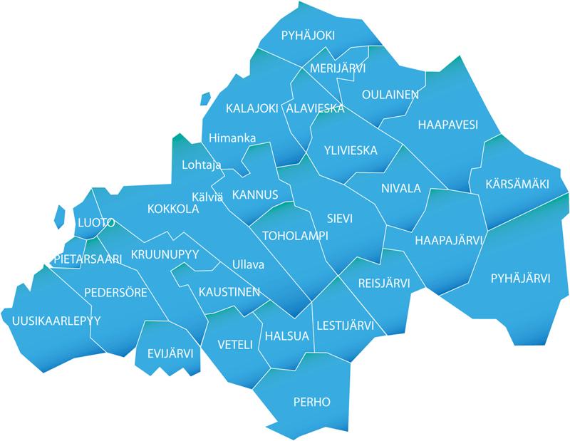Keskipohjanmaan ja KPK konsernin paikallislehtien vaikutusalueella on kolmisenkymmentä kuntaa.
