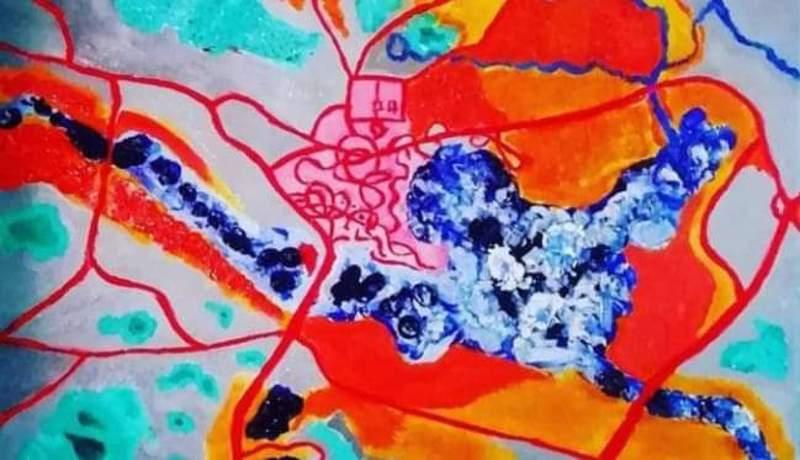 Muun muassa Haapaveden kartta on inspiroinut Anna Penttilää maalaamisessa.