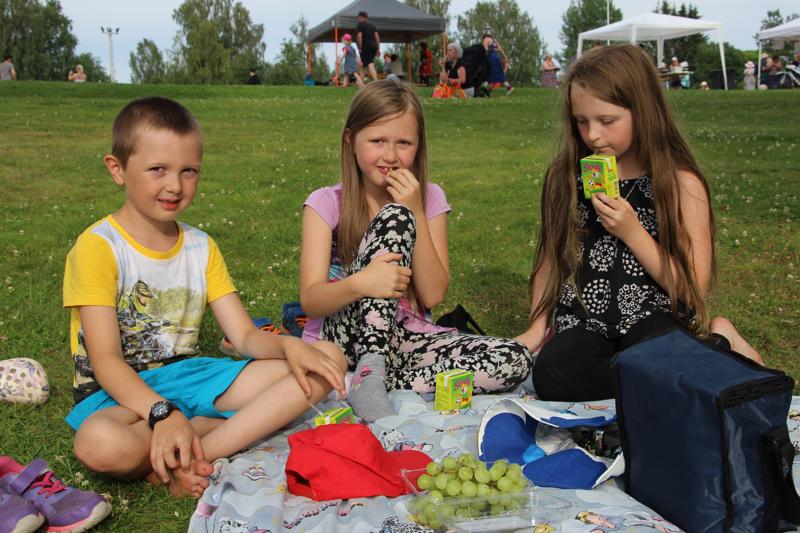 Patrik, Jenika ja Vivika nauttivat Teepiknikillä mukaan ottamistaan herkuista.
