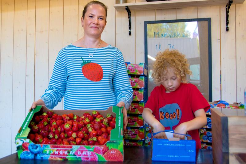 Elina Jukkola kertoo mansikoiden kypsyvän vauhdilla. Kahdeksanvuotias Väinö Jukkola työn touhussa.