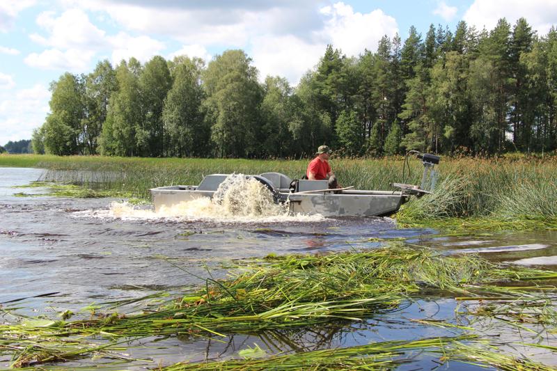 Suurteholeikkuri antaa vesikasveille kyytiä. Ensimmäisenä niittopäivänä urakka saatiin tehokkaasti käyntiin.
