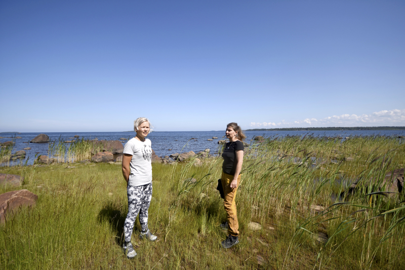 Kokkolan kansallisen kaupunkipuisto -hankkeen koordinaattori Rosanna Telaranta ja hanketyöntekijä Jenni Silvola kertovat, että kaupunkilaiset pääsevät ihailemaan merta Trullevin retkeilyreitin varrella, kun uusi pisto rannalle saadaan kunnostettua.