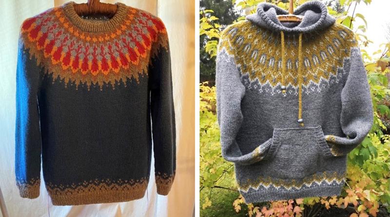 Sinipohjainen neule sijoittui toiseksi Ylläsjärvi 250 -neulekilpailussa. Myös neulehuppari on Soilen itse suunnittelema.