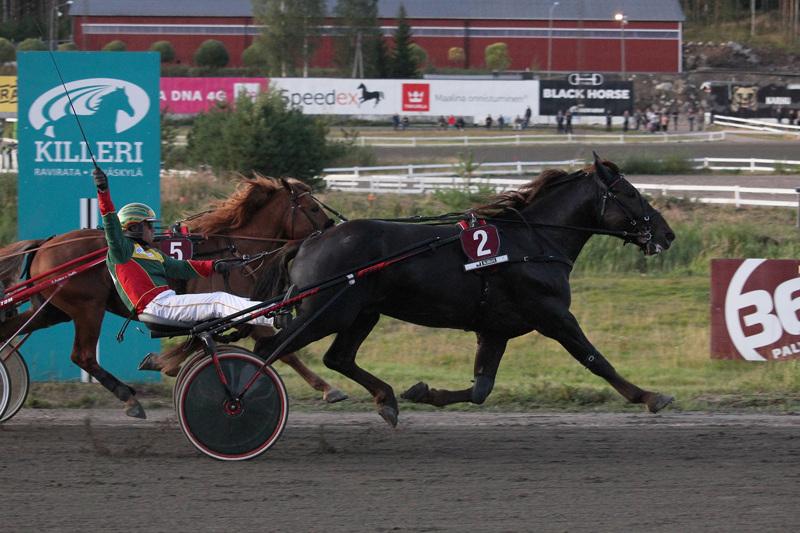 Jani Suonperän omistama, valmentama ja ohjastama Landen Paukku palasi pitkältä tauolta voittovireessä. Arkistokuvassa Jani Suonperä tuulettaa Landen Paukun kärryillä vuoden 2019 Derby-voittoa.