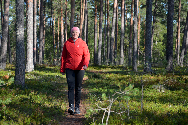 Paras paikka. Mari Äijälä nauttii Hietakankaan maastoista.
