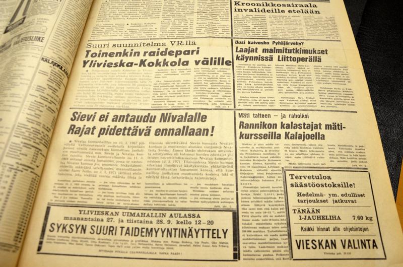 Syyskuussa 1971 etusivun uutisia Kalajokilaaksossa.