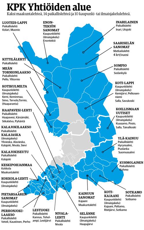Uuden nimen saava KPK Yhtiöt julkaisee lähes kolmeakymmentä lehteä, muun muassa maakuntalehtiä Kainuun Sanomat ja Keskipohjanmaa.