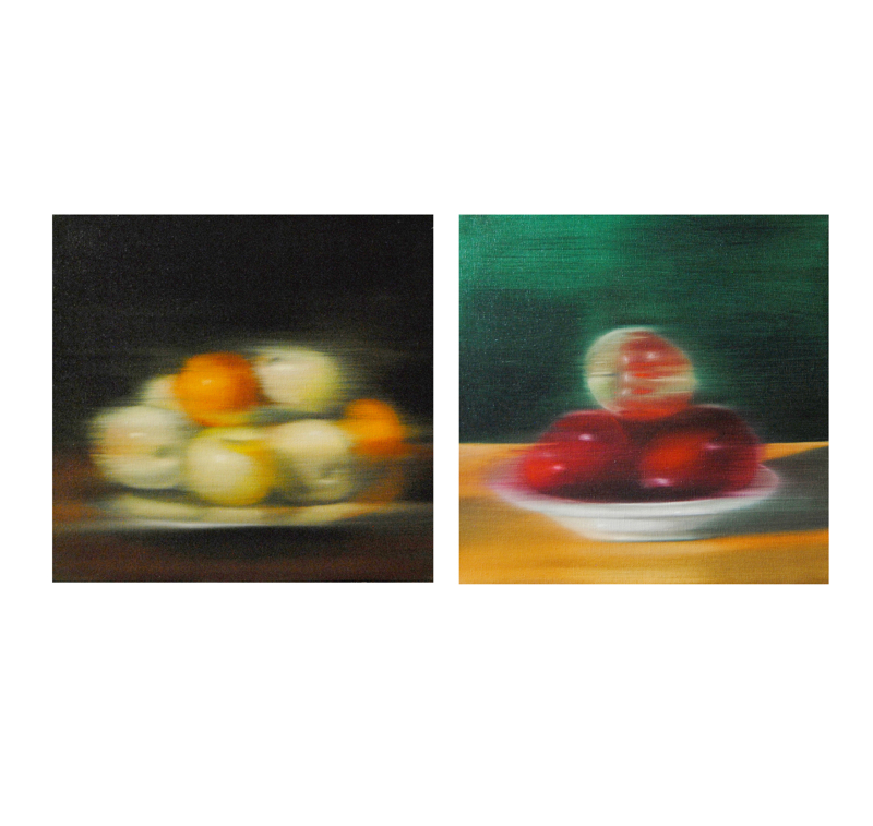 Diptych, Atrezzo, Oil on linen, 32 x 34 cm, 2020.