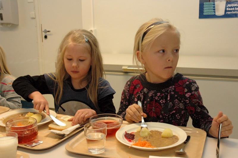 MTK Haapaveden väki oli kiertänyt kouluilla kertomassa kuinka ruokaa tuotetaan. Teemapäivänä koululaisille oli tarjoiltu lähiruokaa. Lähiruoka-ateria oli maistunut Mieluskylän koulun eskarilaisille Adalmiina Haveriselle ja Sonja Vatjukselle.