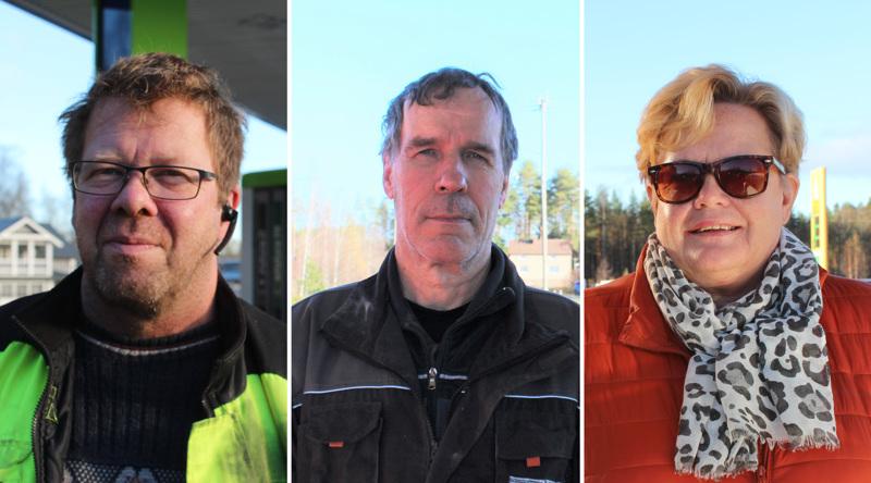 Ilpo Harjukoski, Matti Laasanen ja Marjo Järvenpää kommentoivat polttoaineen hintoja Perhonjokilaakson gallupissa.