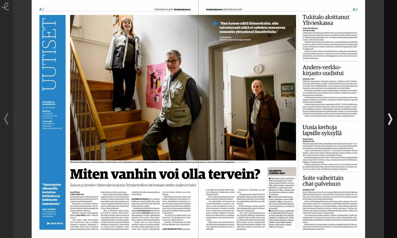 Lehden ensimmäinen uutisaukeama.