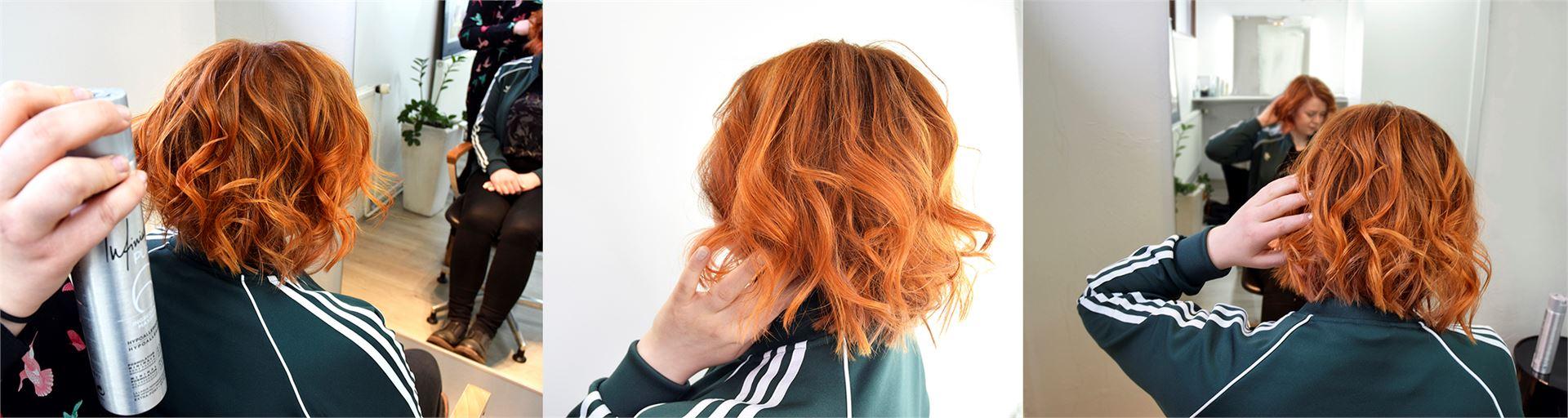 Laineet on hyvä viimeistellä hiuslakalla, niin kiharakampaus kestää. Kuvan hiukset on kiharrettu muotoiluraudalla. Iida oli tyytyväinen siihen, että päätti toteuttaa keväthiuksensa ammattilaisen käsissä kampaamossa.