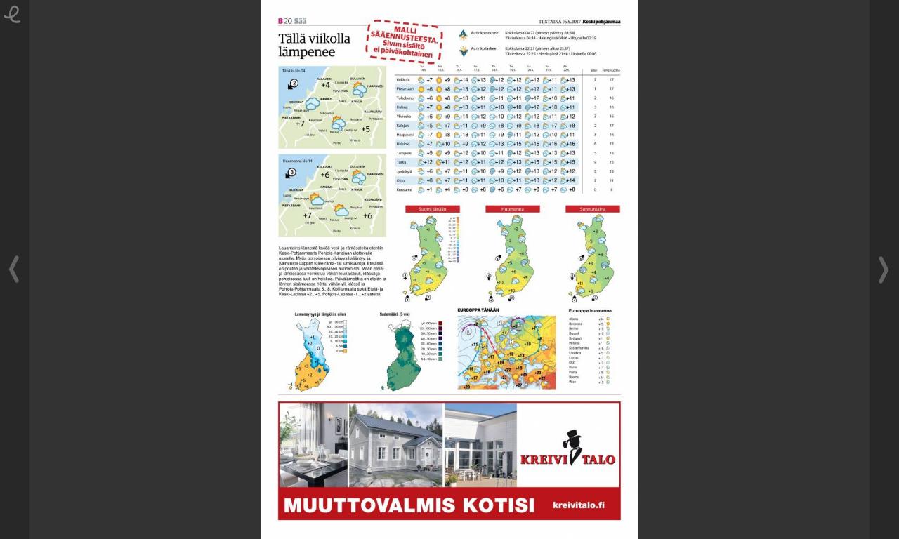 Sääennustesivussa yläosa on paikallista ennustetta, keskellä koko Suomen ja alareunassa maailman tai kaupallista informaatiota.
