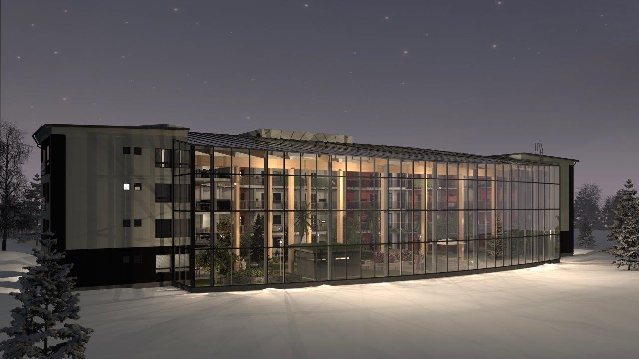 Luonnoskuva Lasso Capitalin kehittämästä innovatiivisesta Cleantech-talosta.