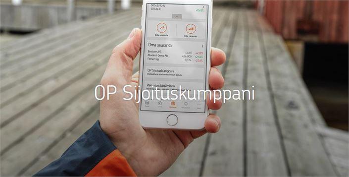 OP Sijoituskumppani toimii näppärästä älypuhelimella. Tarvittaessa opastusta saa OP Keski-Pohjanmaan konttoreista.