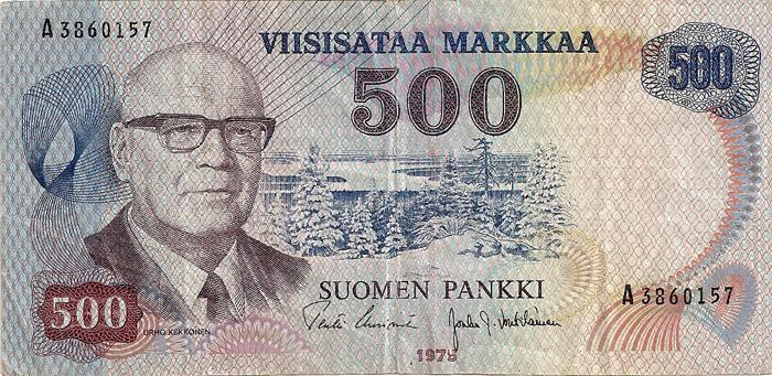 Kekkonen 500 markan setelissä vuodelta 1975.