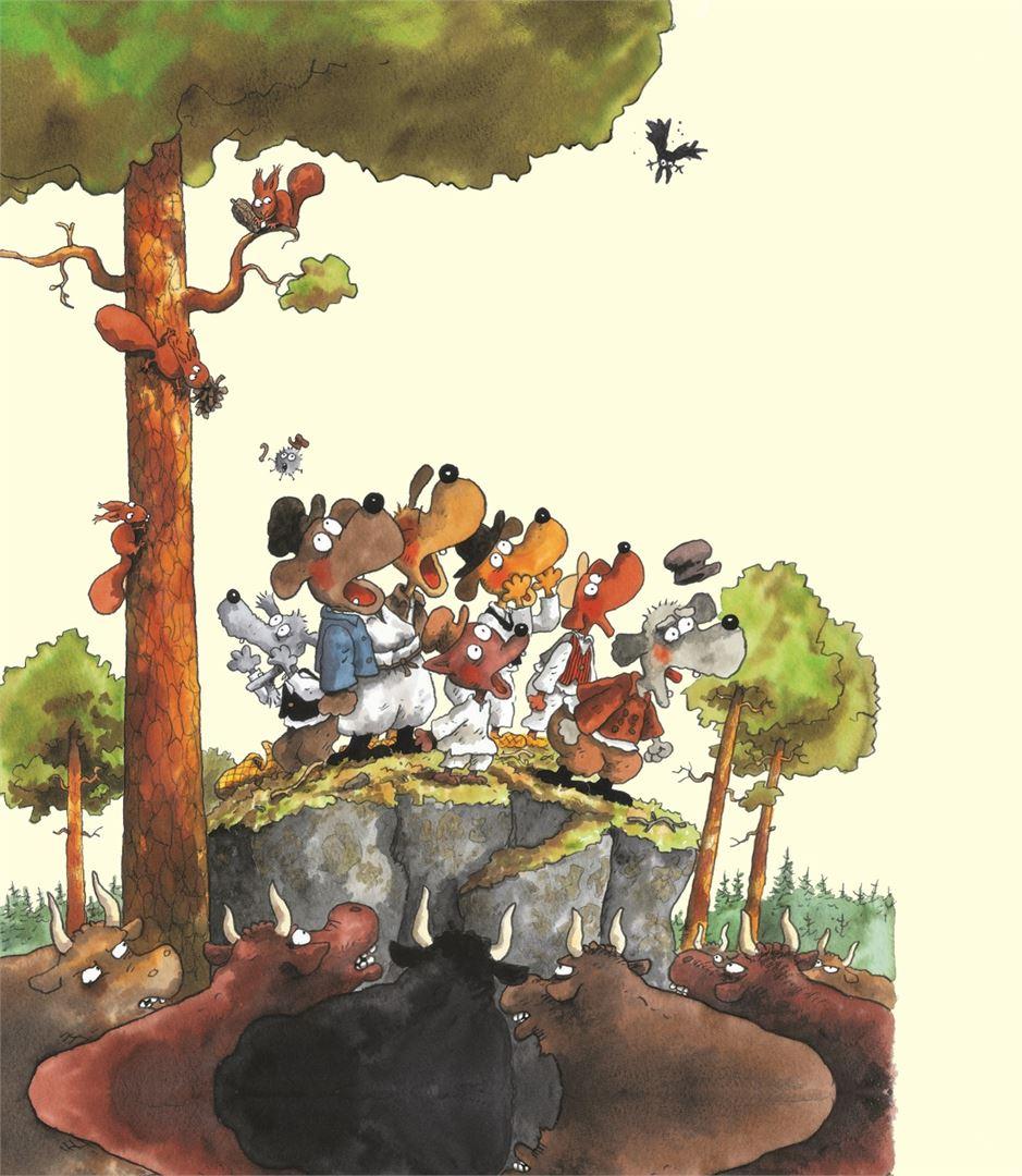 Seitsemän koiraveljestä joutuvat Mauri Kunnaksen piirroksissa pulaan jos toiseenkin. ©2016 Doghill Productions Oy ja Kustannusosakeyhtiö Otava.