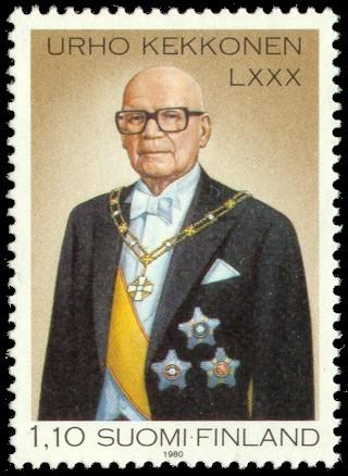 Urho Kekkonen vuonna 1980 julkaistussa postimerkissä.